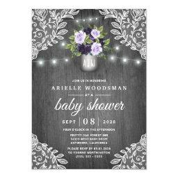 Purple Silver Gray Floral Rustic Lace Baby Shower Invitation