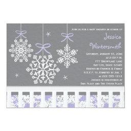 Purple Snowflake Mobile Crib  Invite