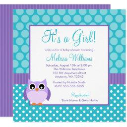 Purple Teal Owl Polka Dot Girl Baby Shower