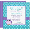 Purple Teal Owl Polka Dot Girl Baby Shower Invitation
