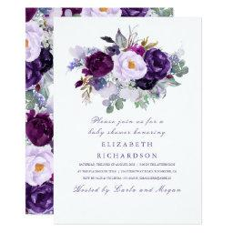 Purple Watercolor Flowers Romantic Baby Shower Invitation