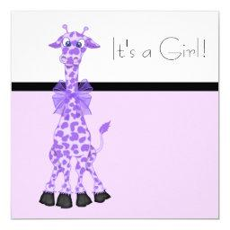 Purple Whimsy Giraffe Baby Girl Shower