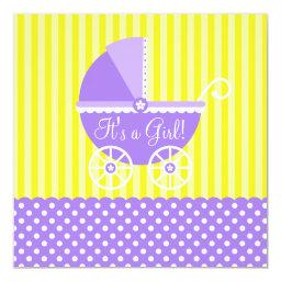 Purple Yellow Carriage Dots Girl Baby Shower Invitation