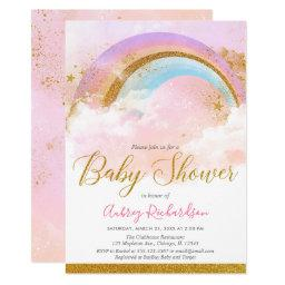 Rainbow Baby Shower Girl Pastel Pink Gold Invitation