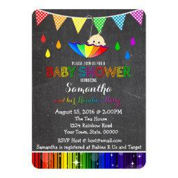 Raining Rainbow Baby Shower Invitations