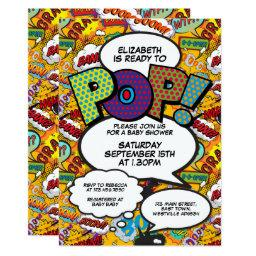 Ready To Pop Baby Shower Comic Book Modern Invitation