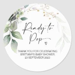 Ready To Pop Cute Baby Shower Favor Eucalyptus Classic Round Sticker