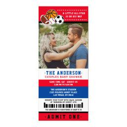 Red All Star Sport Ticket Couples Shower Photo Invitation