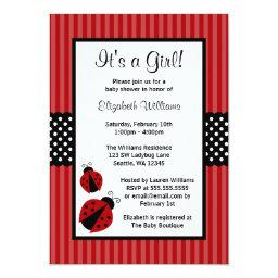 Red and Black Ladybug Striped Dots Baby Shower