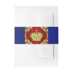 Red Blue and Gold Prince Baby Shower  Belly Band