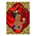 Red Blue Gold Ethnic Prince Baby Shower Invitations
