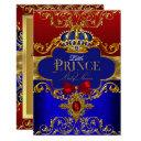 Red Blue Royal Crown Little Prince Baby Shower Invitation