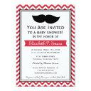 Red Boy Moustache Chevron Baby Shower Invitation