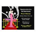 Red Carpet Hollywood Baby Shower Invitation Girl