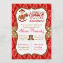 Red Cowboy Baby Boy Shower Invitation