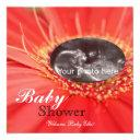 Red Daisy Flower Child Sonogram Baby Shower Invite