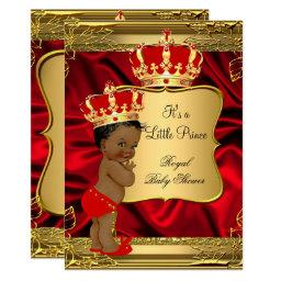 Red Gold African American Prince Baby Shower