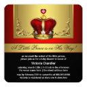 Red Gold Crown Prince Baby Shower Invitation