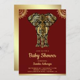 Red Gold Elephant Indian Baby Shower Invitation