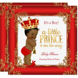 Red Gold Prince Baby Shower Damask Ethnic Boy