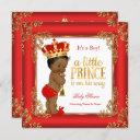 Red Gold Prince Baby Shower Damask Ethnic Boy Invitation