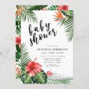 Red Hibiscus Palm Leaves Tropical Baby Shower Invitation