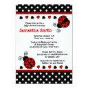 Red Ladybug Baby Shower Black And White Polka Dots Invitations