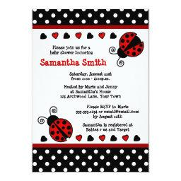 Red Ladybug Baby Shower Black and White Polka Dots