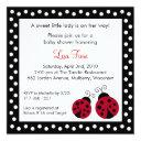 Red Ladybug Dots Baby Shower Invitationss