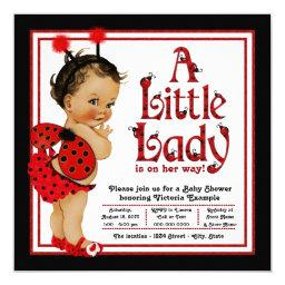 Red Ladybug Ethnic Girl Ladybug Baby Shower Invitation