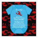 Red Lobster Crayfish Baby Boy Shower Invita Invitation