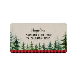 Red Plaid Woodland Forest Lumberjack Address Label