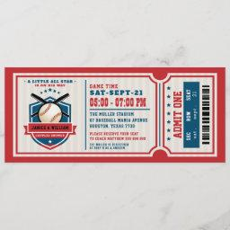 Red Vintage Baseball Ticket Couples Baby Shower Invitation