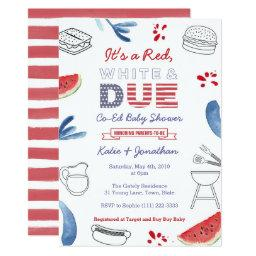 Red White And Due Blue Co-ed Couples Baby Shower Invitation