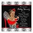 Red Zebra Pearl High Heel Shoe Ethnic Baby Shower Invitations