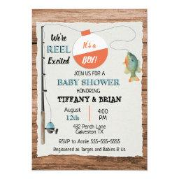 Reel Excited Fishing Boy Baby Shower Invitation