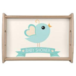 Retro Robin's Egg Blue Love Bird  Serving Tray