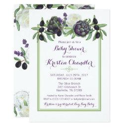 Romantic Olives Artichoke Floral Gardenia Garden Invitation