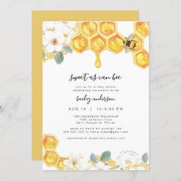 Romy - Floral Honey Bumble Bee Baby Shower Invitation