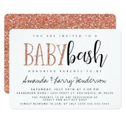 Rose Gold Baby Bash, Couples Baby Shower Invitation