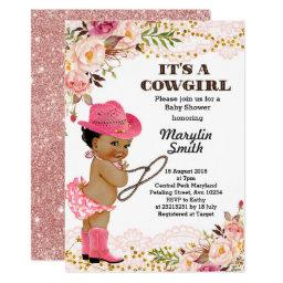 Rose Gold Cowgirl Baby Shower African American Invitation