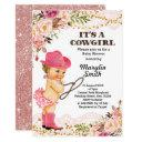 Rose Gold Cowgirl Baby Shower Girl Invitation