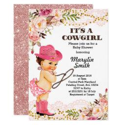 Rose Gold Cowgirl Baby Shower Lace Invitation