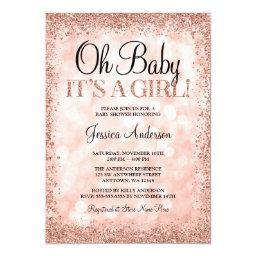 Rose Gold Faux Glitter Lights Girl Baby Shower