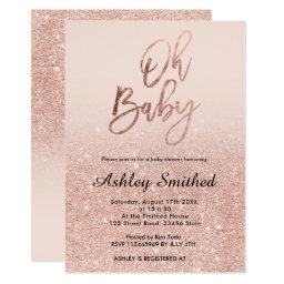 Rose Gold Faux Glitter Pink Ombre Oh Baby Shower