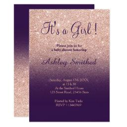 Rose Gold Faux Glitter Purple Ombre Baby Shower