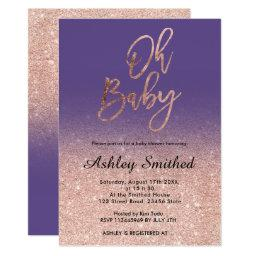 Rose Gold Faux Glitter Purple Ombre Oh Baby Shower Invitation