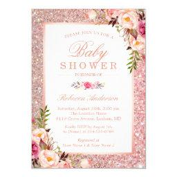 Rose Gold Glitter Pink Floral Girl Baby Shower