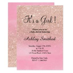 Rose Gold Glitter Pink Watercolor Girl Baby Shower
