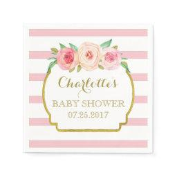 Rose Stripes Gold Pink Floral Baby Shower Napkin